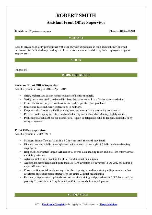 Assistant Front Office Supervisor Resume Model