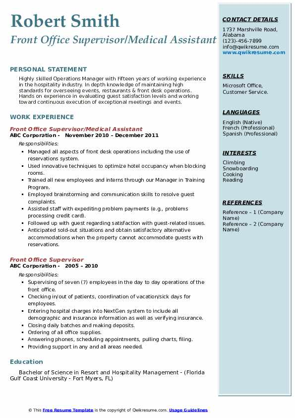 front-office-supervisor-1559819290-pdf Sample Electronic Resume Format on job application, for high school students,