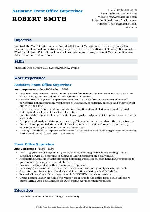 Assistant Front Office Supervisor Resume Template