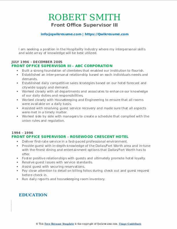 Front Office Supervisor III Resume Format