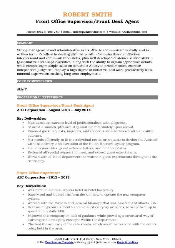 Front Office Supervisor/Front Desk Agent Resume Format