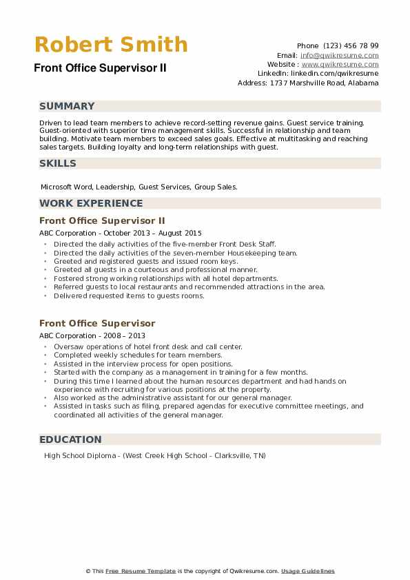 front office supervisor resume samples