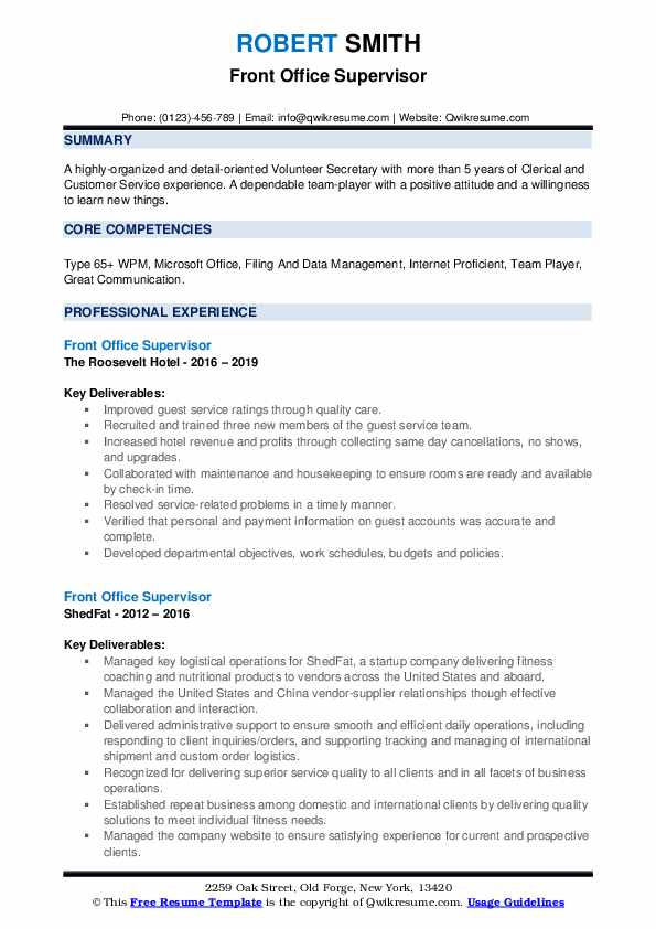 Front Office Supervisor Resume Samples | QwikResume