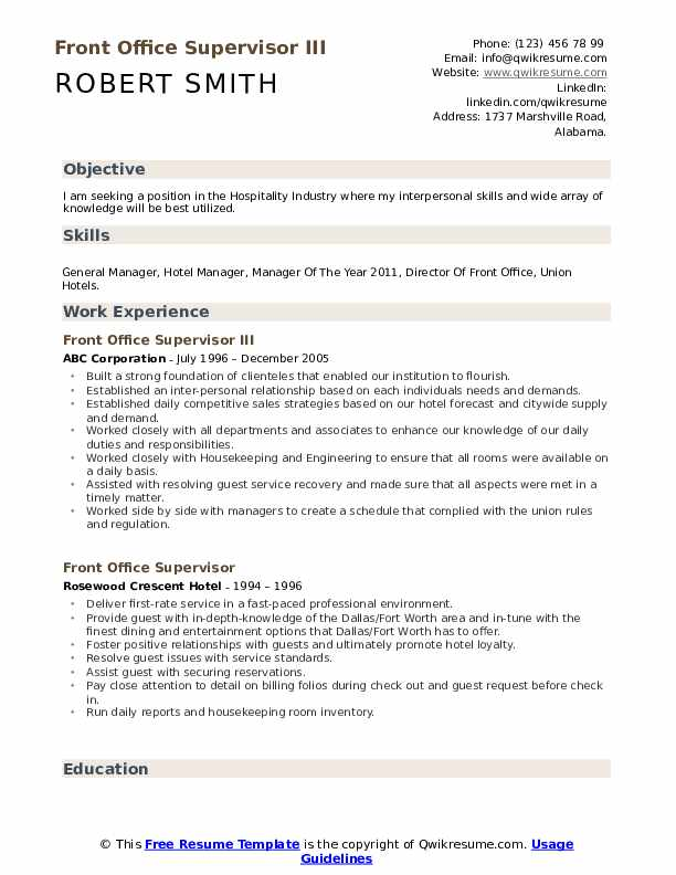 hotel manager resume samples