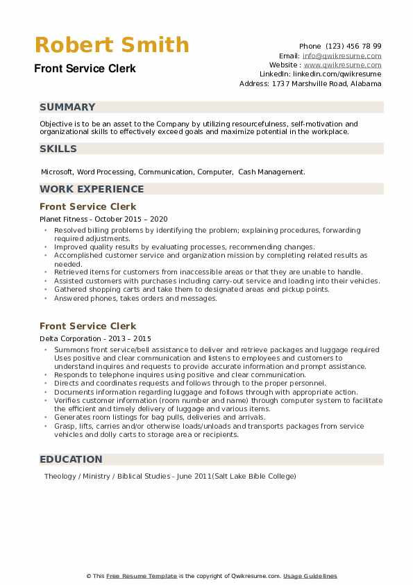 Front Service Clerk Resume example