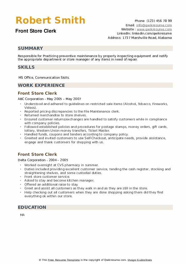 Front Store Clerk Resume example