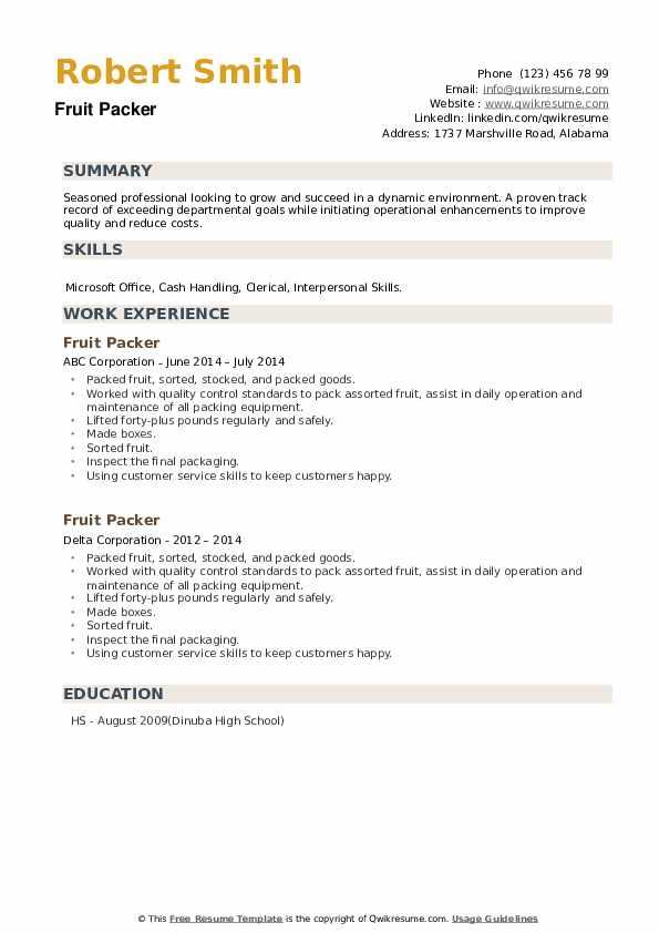Fruit Packer Resume example
