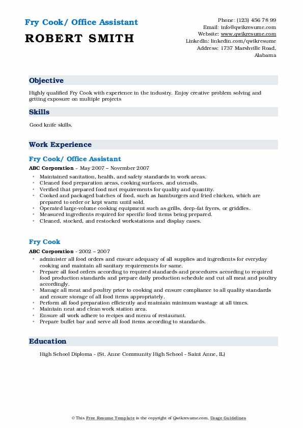 Fry Cook/ Office Assistant Resume Template