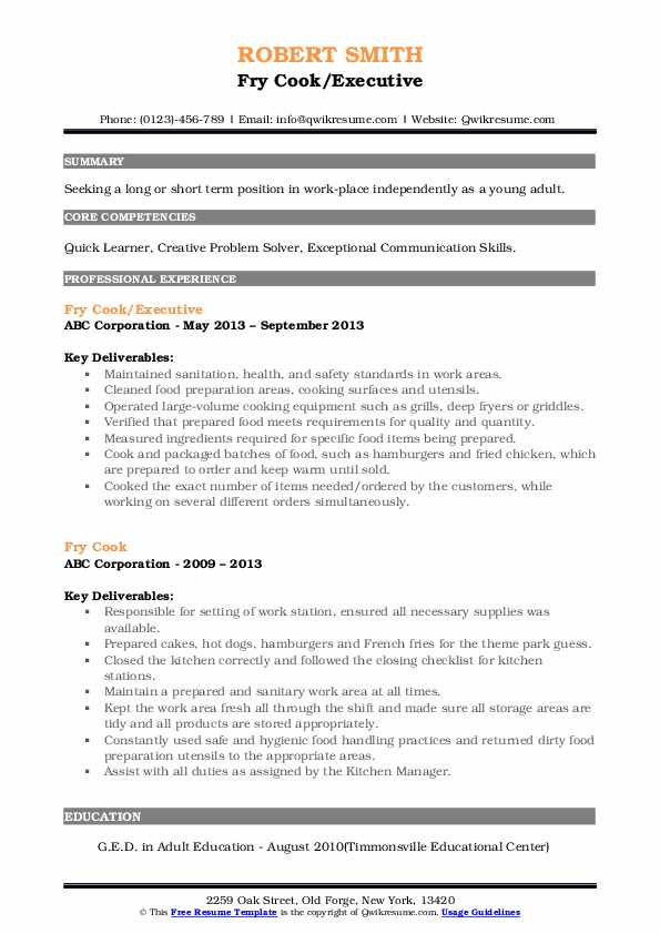 Fry Cook/Executive Resume Sample