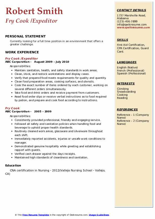 Fry Cook /Expeditor Resume Template