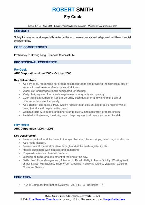 Fry Cook Resume example