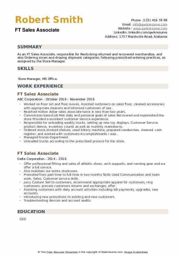 FT Sales Associate Resume example