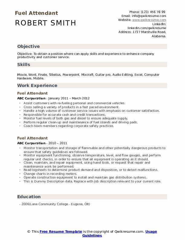 Fuel Attendant Resume example