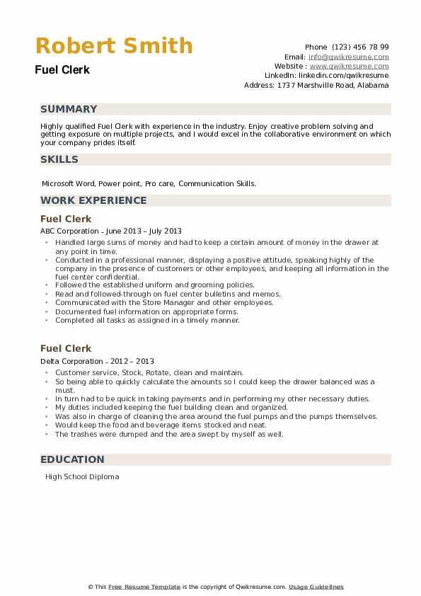 Fuel Clerk Resume example