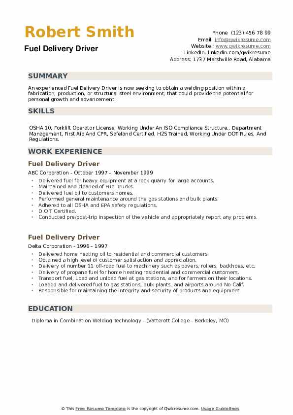Fuel Delivery Driver Resume example