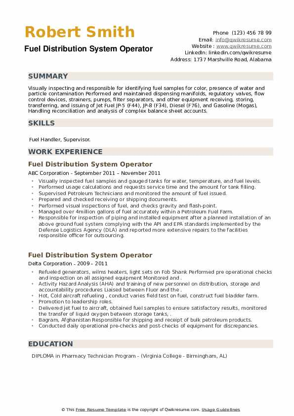 Fuel Distribution System Operator Resume example