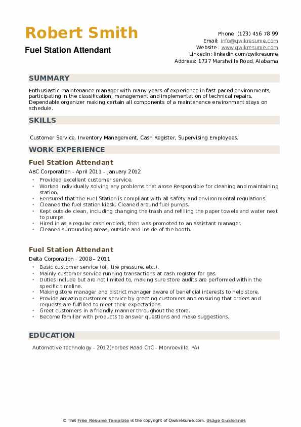 Fuel Station Attendant Resume example