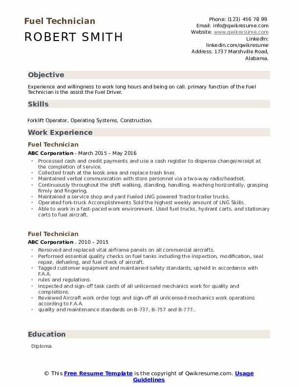 fuel technician resume samples