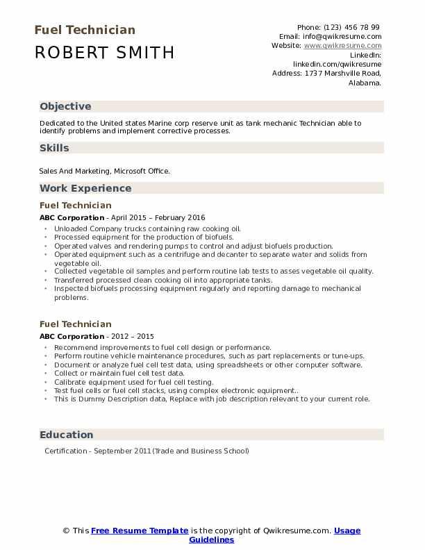Fuel Technician Resume example