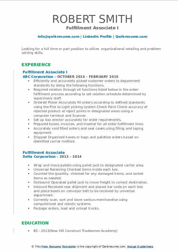 fulfillment associate resume samples  qwikresume
