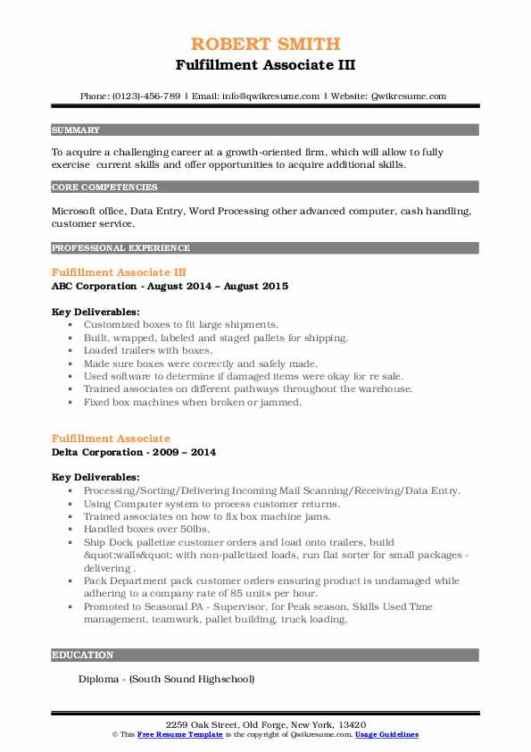 fulfillment associate resume samples