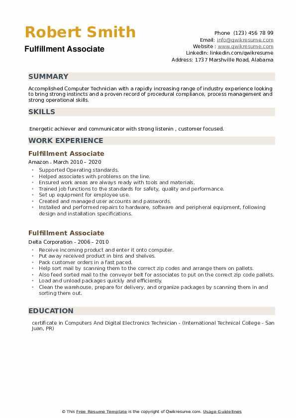 Fulfillment Associate Resume example