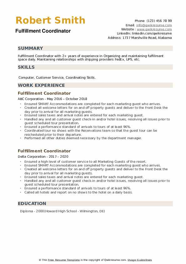 Fulfillment Coordinator Resume example