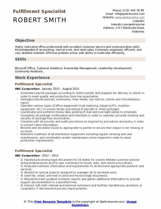 Fulfillment Specialist Resume Sample