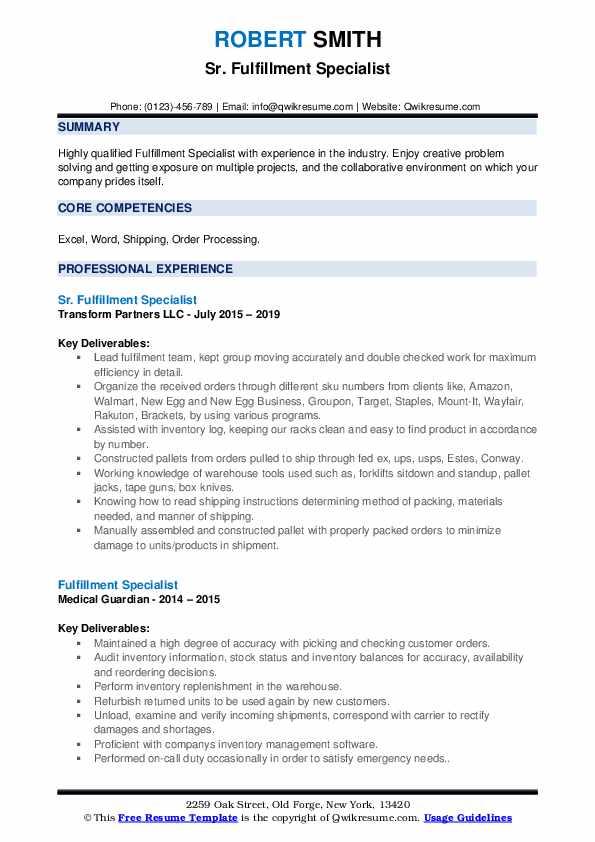 Sr. Fulfillment Specialist Resume Example