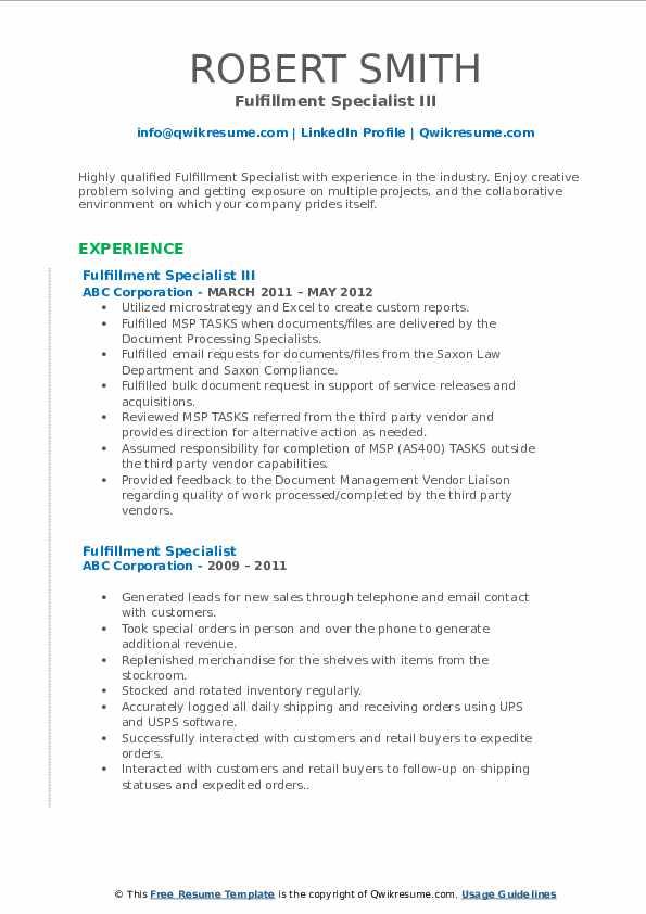 Fulfillment Specialist III Resume Example