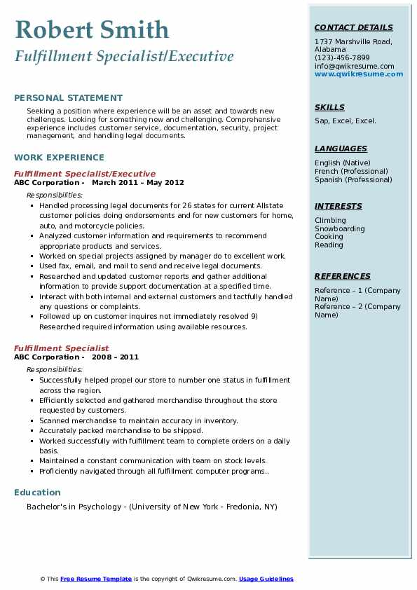 Fulfillment Specialist/Executive Resume Template