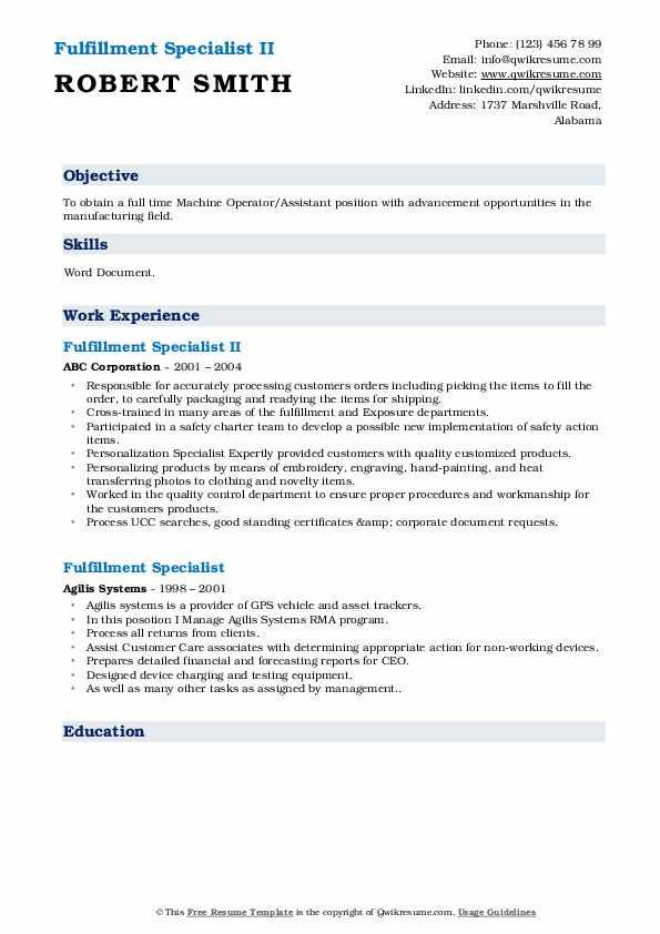 Fulfillment Specialist II Resume Sample