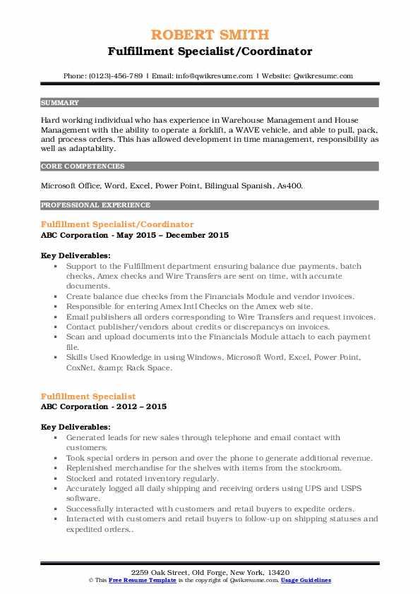 Fulfillment Specialist/Coordinator Resume Sample