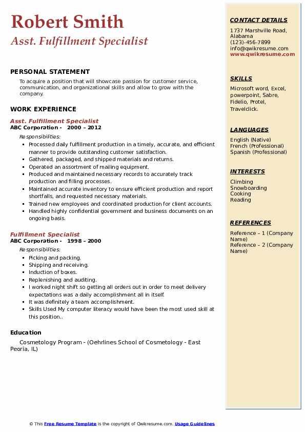 Asst. Fulfillment Specialist Resume Model