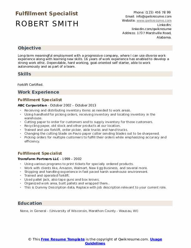 Fulfillment Specialist Resume example