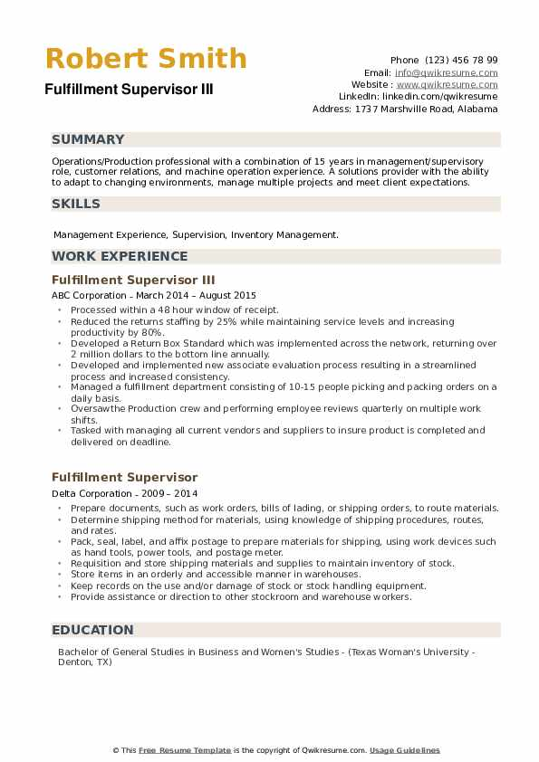 Fulfillment Supervisor Resume example