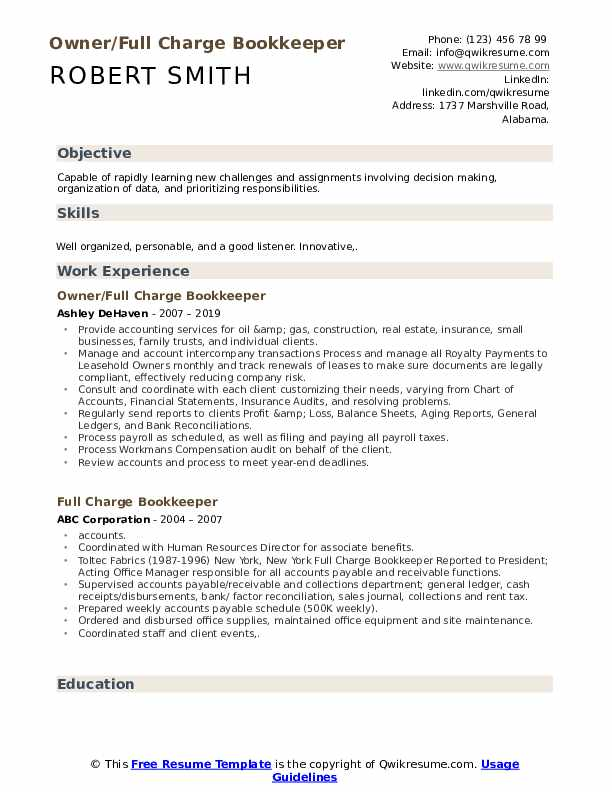 Owner/Full Charge Bookkeeper Resume Model