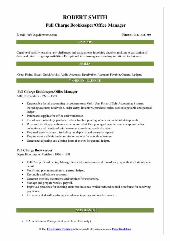 Full Charge Bookkeeper/Office Manager Resume Template