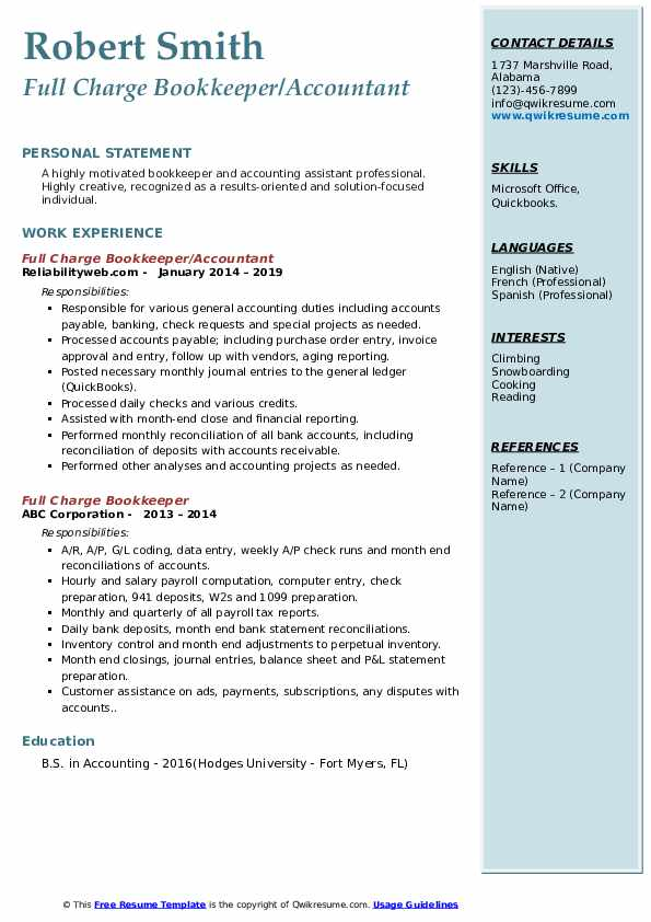 Full Charge Bookkeeper/Accountant Resume Sample