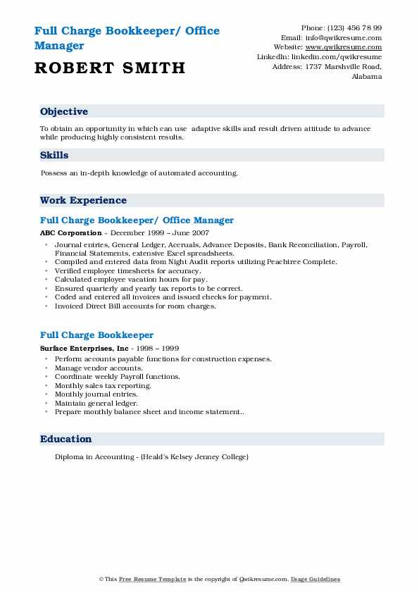 Full Charge Bookkeeper/ Office Manager Resume Model