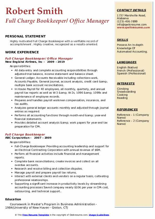 Full Charge Bookkeeper/ Office Manager Resume Example