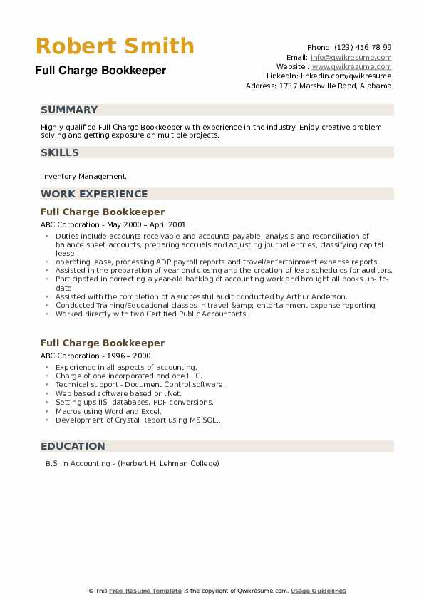 Full Charge Bookkeeper Resume Template