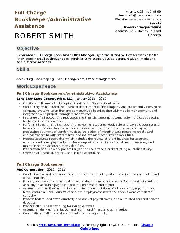 Full Charge Bookkeeper/Administrative Assistance Resume Sample