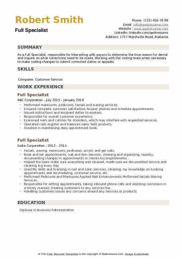 Full Specialist Resume example