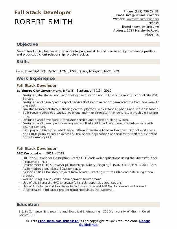 Full Stack Developer Resume Format