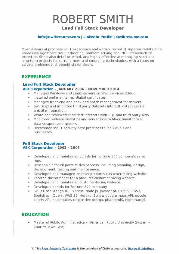 Lead Full Stack Developer Resume Model