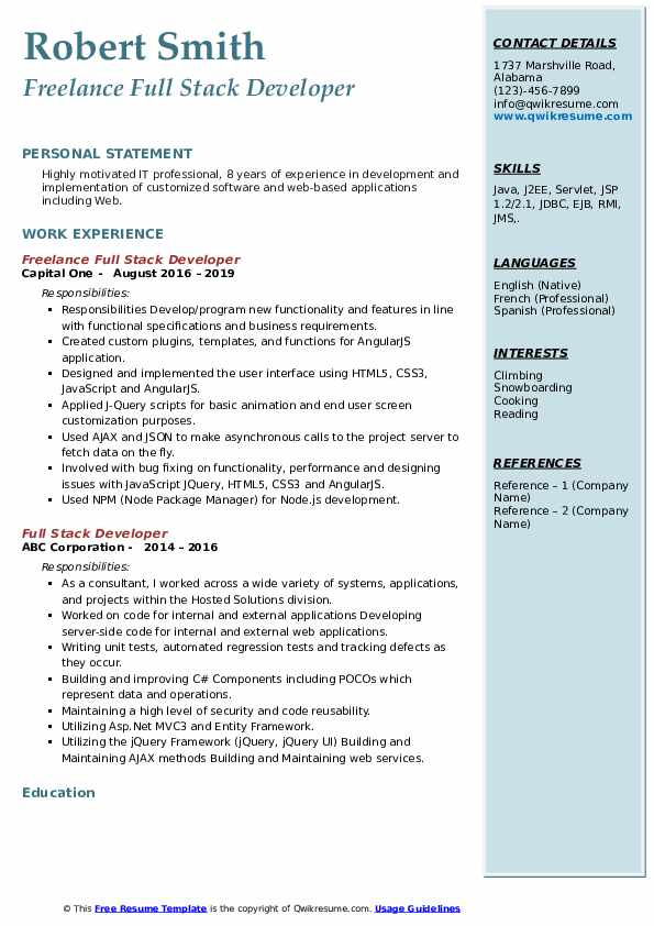 full stack developer resume samples