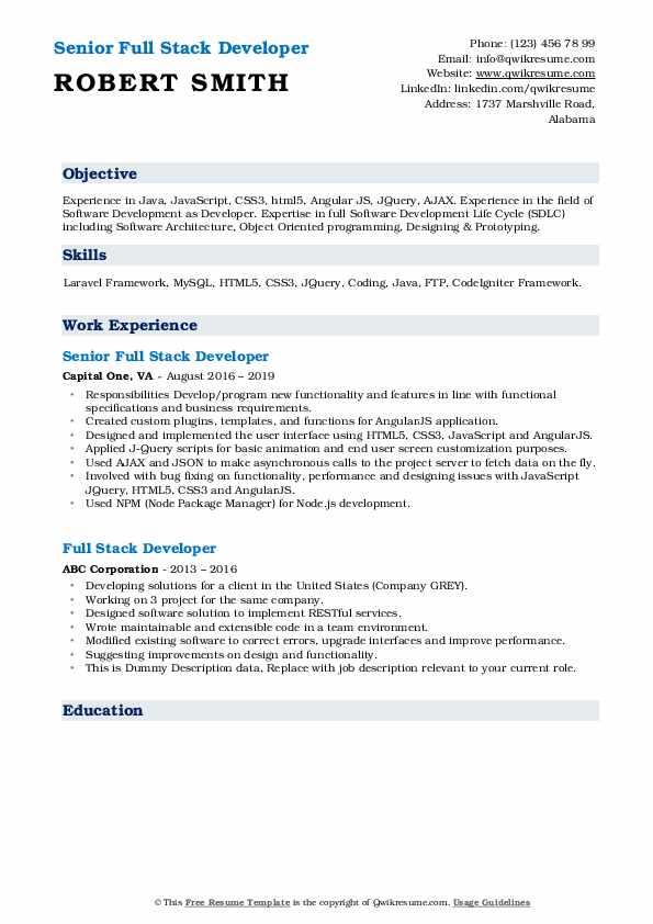 Senior Full Stack Developer Resume Format