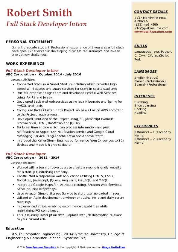 Full Stack Developer Intern Resume Example