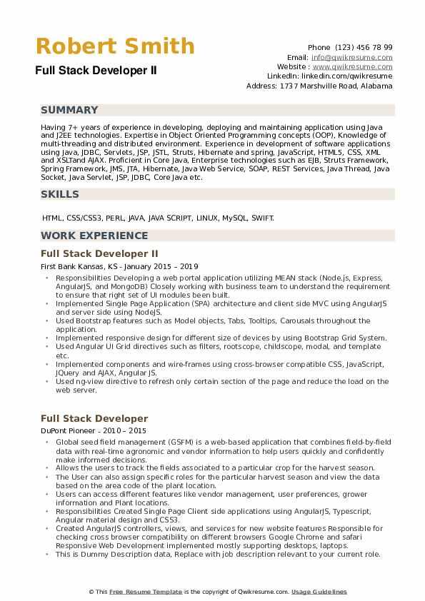 full stack developer resume samples